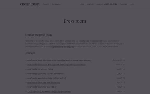 Screenshot of Press Page onefinestay.com - Press room - onefinestay - captured Dec. 12, 2015