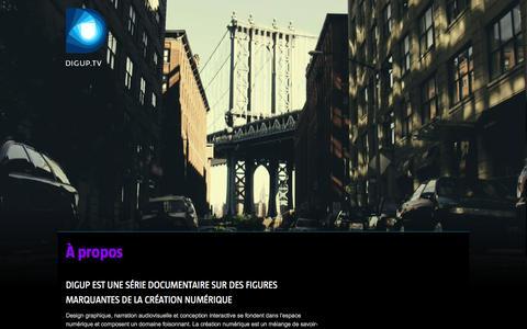 Screenshot of About Page digup.tv - digup•tv | À propos - captured Feb. 9, 2016