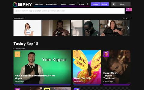 Screenshot of Home Page giphy.com - GIPHY | Search All the GIFs & Make Your Own Animated GIF - captured Sept. 19, 2018