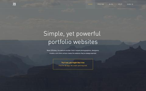 Screenshot of Home Page 22slides.com - 22Slides: Simple, yet powerful portfolio websites - captured March 31, 2019