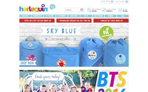 Screenshot of Home Page schoolbags.com.au - Harlequin School Bags | Kids Backpacks | Personalised Bags - captured Jan. 26, 2016