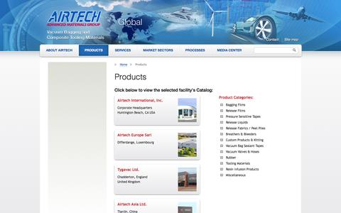 Screenshot of Products Page airtechonline.com - Products   Airtech Global - captured Feb. 5, 2016