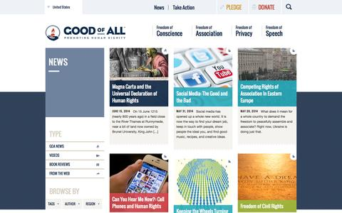 Screenshot of Press Page goodofall.org - News : Good of All - captured Sept. 30, 2014