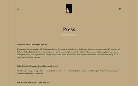 Screenshot of Press Page squarespace.com - Press — Alicia Berneche - captured May 24, 2016