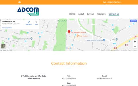 Screenshot of Contact Page adcom.co.il - Adcom Computers and Communication  |  Contact Us - captured Oct. 3, 2018