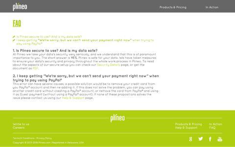 Screenshot of FAQ Page plineo.com - Plineo - FAQ - captured Jan. 29, 2016