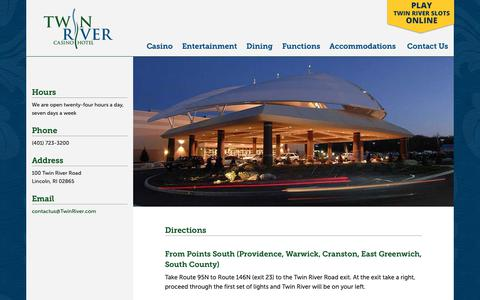 Screenshot of Maps & Directions Page twinriver.com - Directions - Twin River Casino Hotel - captured May 31, 2019