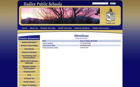 Screenshot of Maps & Directions Page hadleyschools.org - Hadley Public School District - Directions - captured Oct. 18, 2016