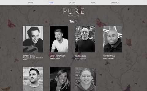 Screenshot of Team Page pure-soho.com - Pure Soho - Sound Design - captured Sept. 30, 2018