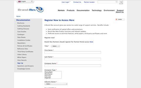 Screenshot of Signup Page brand-rex.com - Register Now to Access More | Brand-Rex Ltd. - captured Oct. 29, 2014