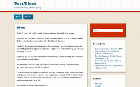 Screenshot of About Page pastlivesofthenearfuture.com - About | Past/Lives - captured June 8, 2016