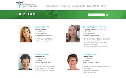 Screenshot of Team Page medicalresearch.org.nz - Auckland Medical Research Foundation - captured Oct. 9, 2017