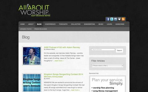Screenshot of Blog allaboutworship.com - Blog | All About Worship | Podcasts, Interviews, Music, Resources - captured Oct. 4, 2014