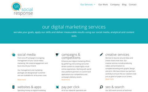 Screenshot of Services Page social-response.co.uk - Marketing Services: Social Media, Websites, SEO & More. - captured Nov. 17, 2016