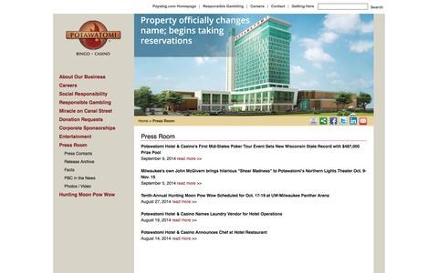 Screenshot of Press Page paysbig.com - Press Room | Potawatomi Bingo Casino - captured Sept. 19, 2014