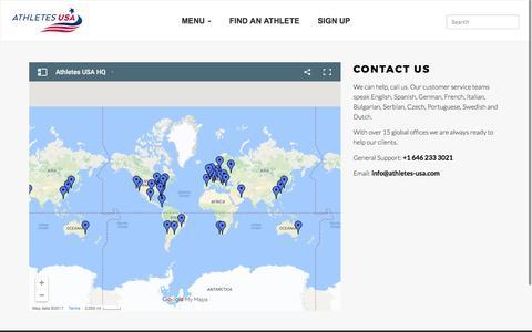 Screenshot of Contact Page athletes-usa.com - World's No.1 Sport Scholarship Agency | Athletes USA - captured May 31, 2017
