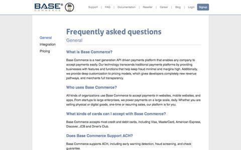 Screenshot of FAQ Page basecommerce.com - Base Commerce - FAQ - captured Feb. 12, 2016