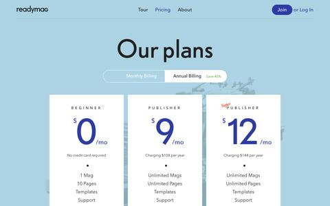 Screenshot of Pricing Page readymag.com - Readymag — Your own publishing platform - captured Sept. 18, 2014