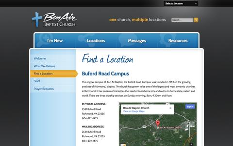 Screenshot of Contact Page bonairbaptist.org - Bon Air Baptist Church | Find a Location - captured Oct. 5, 2014