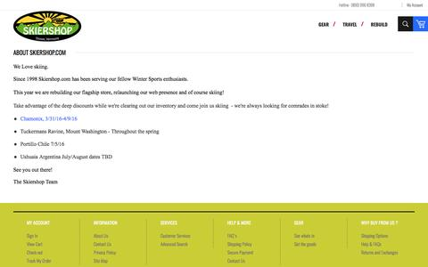 Screenshot of About Page skiershop.com - About Us - captured April 9, 2017