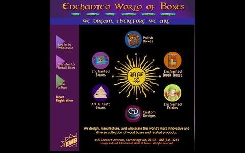 Screenshot of Home Page enchantedboxes.com - Enchanted World of Boxes -- Wholesale Wood Boxes - captured Oct. 2, 2014