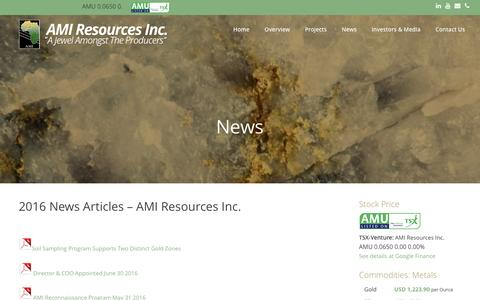 Screenshot of Press Page amiresources.com - News - AMI Resources Inc. - captured Nov. 19, 2016