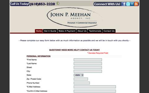Screenshot of Contact Page meehaninsurance.com - John P. Meehan Insurance Agency | Auto--Home--Business | Havertown, PA - captured Feb. 11, 2016
