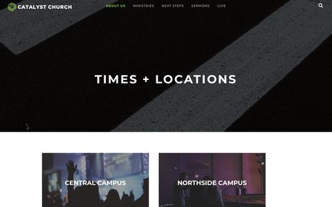 Screenshot of Locations Page catalystchurch.com - Times + Locations · Catalyst Church Jacksonville NC - captured Oct. 8, 2018