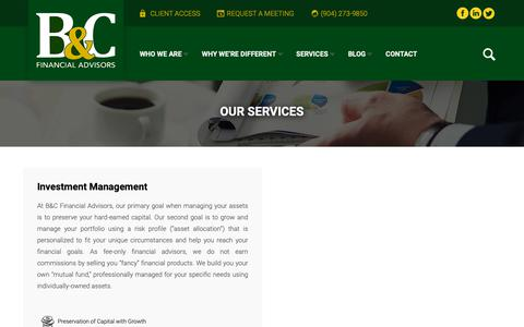Screenshot of Services Page bandcfinancial.com - Services | B&C Financial Advisors - captured Sept. 26, 2018