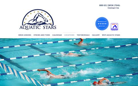 Screenshot of Locations Page aquaticstars.com - Aquatic Stars private swimming lessons and swim team practices | LOCATIONS - captured Oct. 8, 2017