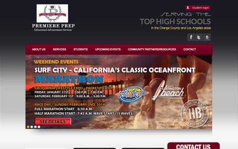 Screenshot of Home Page premiereprep.net - College Preparation And College Counselor Orange County - Educational Advancement Services - captured Sept. 30, 2014