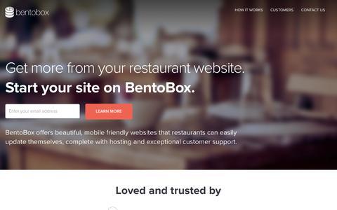 Screenshot of Home Page getbento.com - BentoBox | Restaurant Websites - captured Sept. 5, 2015