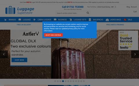 Screenshot of Home Page luggagesuperstore.co.uk - Luggage Superstore - Antler, Samsonite, Delsey & Bric's Suitcases - captured Dec. 8, 2018