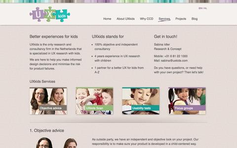Screenshot of Services Page uxkids.com - UXkids - Fun, easy to use, and age-appropriate websites and apps for kids. - captured Sept. 30, 2014