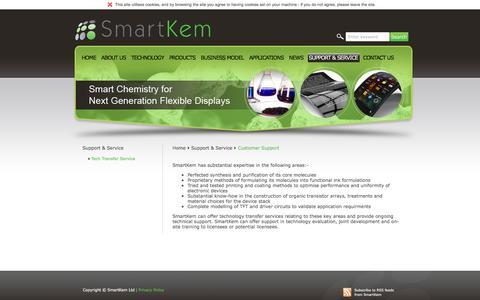 Screenshot of Support Page smartkem.com - Main - Customer Support - captured Dec. 3, 2015