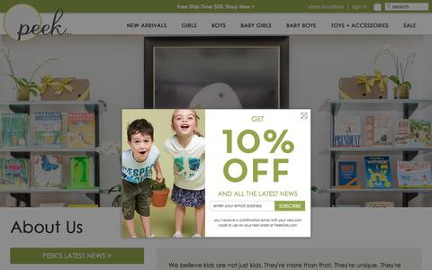 Screenshot of About Page peekkids.com - About Us   Peek Kids Clothing - captured July 16, 2018