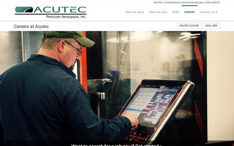 Screenshot of Jobs Page acutecprecision.com - Careers   Acutec Precision Aerospace, Inc. - captured Oct. 3, 2018