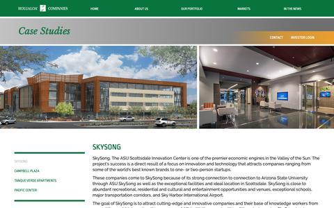 Screenshot of Case Studies Page holualoa.com - SKYSONG – Holualoa Companies - captured Sept. 29, 2018