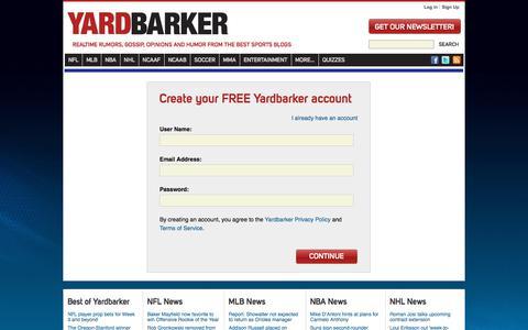 Screenshot of Signup Page yardbarker.com - Create Account - captured Sept. 21, 2018