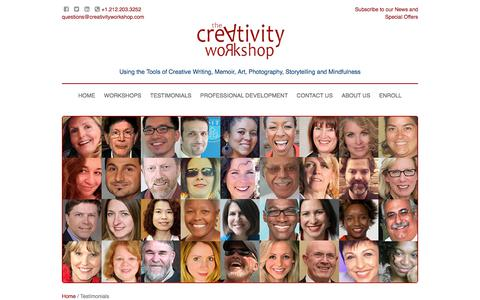 Screenshot of Testimonials Page creativityworkshop.com - All Testimonials - captured July 23, 2018