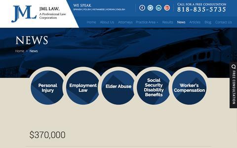 Screenshot of Press Page jmllaw.com - News | Jml Law, A Professional Law Corporation | Woodland Hills - captured May 27, 2017