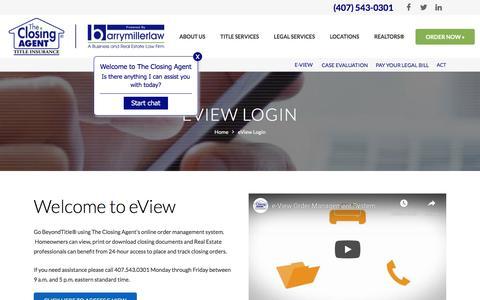 Screenshot of Login Page theclosingagent.com - E-VIEW LOGIN   THE CLOSING AGENT   ORLANDO TITLE COMPANY - captured Aug. 21, 2019