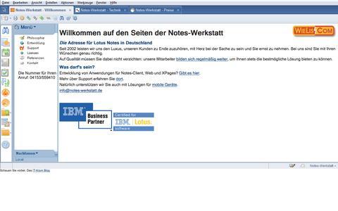 Screenshot of Home Page notes-werkstatt.de - Die Notes-Werkstatt - Notes-Entwicklung schnell, effizient und günstig - captured June 11, 2016
