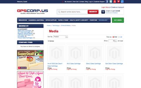 Screenshot of Press Page gpscorp.us - Media - Drives & Media - Technology - captured Sept. 27, 2014