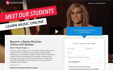 Screenshot of Landing Page berklee.edu - Learn Music Online with Berklee - captured March 29, 2018