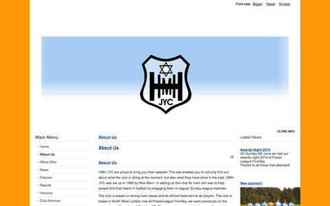 Screenshot of About Page hmhjyc.org - About Us - captured Sept. 26, 2014