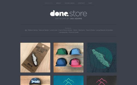 Screenshot of Products Page donecreative.ca - Products / Done Creative - captured Nov. 6, 2018