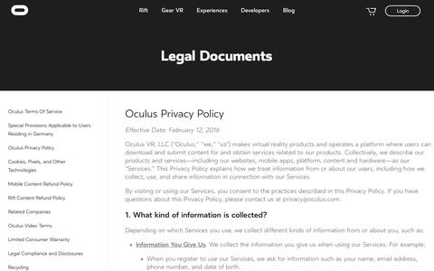 Screenshot of Privacy Page oculus.com - Oculus - captured Oct. 26, 2017