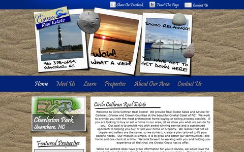 Screenshot of Home Page cirilacothran.com - Swansboro NC Real Estate in Carteret and Onslow - captured Oct. 2, 2014