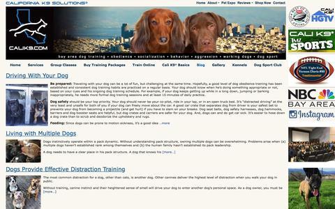 Screenshot of Blog calik9.com - Dog Blog - Dog Training San Jose, Bay Area K9 Trainer | Cali K9® - captured Jan. 24, 2016